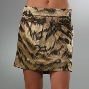 New DVF Palace Tiger Gold Silk Mini Skirt!